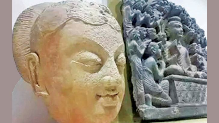 Ancient Buddhist artefacts on display at the Islamabad museum.