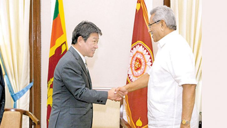 STRENGTHENING JAPAN-LANKA TIES: Japanese Foreign Minister Motegi Toshimitsu called on President Gotabaya Rajapaksa at the Presidential Secretariat yesterday. Picture courtesy President's Media Division