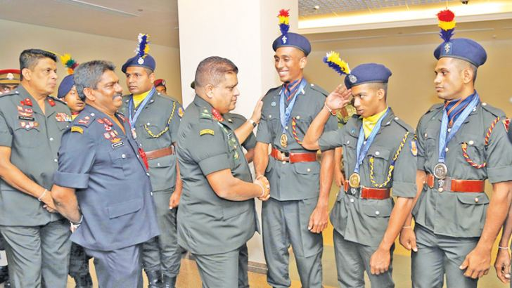 Army Commander Lieutenant General Shavendra Silva at the felicitation ceremony for the winners from the Sri Lanka Army at the 13th South Asian Games in Nepal. Picture by Rukmal Gamage