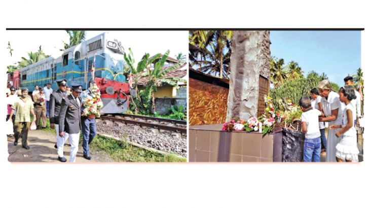 TSUNAMI TRAIN: The train crew with the train driver and two guards arrived in the same train which was hit and destroyed by the tsunami in 2004 where over 1,200 people perished and relatives of the victims paid floral tributes at the memorial in Telwatte yesterday. (Pictures by Sirangika Lokukarawita)