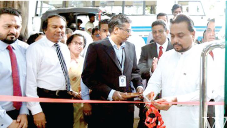 Chief  Guest Minister Wimal Weerawansa at the opening ceremony.  Laksala, Chairman Sujeewa Palliyaguruge and Director General,CEO Madhura De Silva are also in the picture.