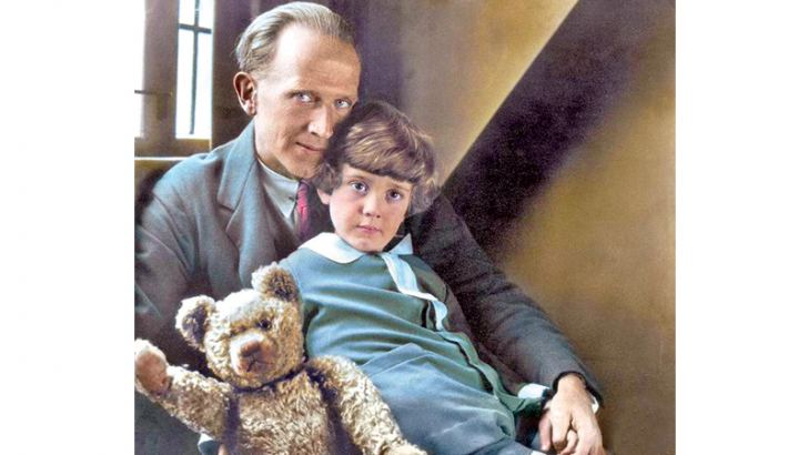 AA Milne, his son Christopher Robin, and the real Winnie The Pooh, 1926.