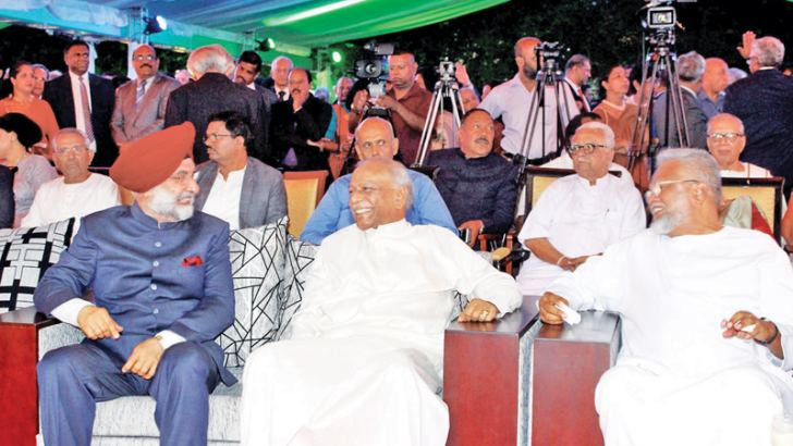 Foreign Relations Minister Dinesh Gunawardena  with Indian High Commissioner Taranjit Singh Sandhu at the celebration of India's 71st Republic Day on Sunday.