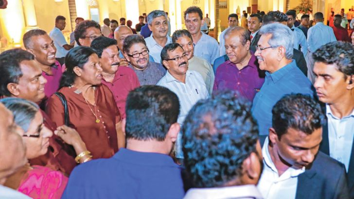 MEETING TU REPS: President Gotabaya Rajapaksa having a chat with representatives of the Progressive Trade Union Federation at the President's House in Fort on Saturday. Picture courtesy President's Media Unit