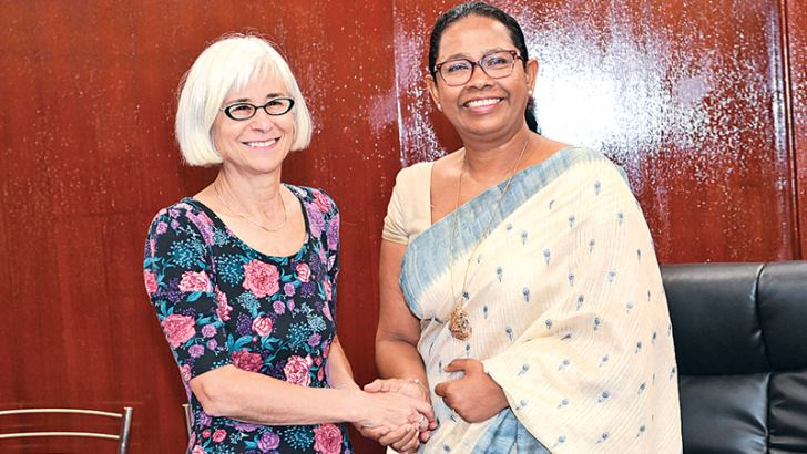 World Bank Group Senior Director for Gender Caren Grown with Health, Nutrition and Indigenous Medicine Minister Pavithra Wanniarachchi.