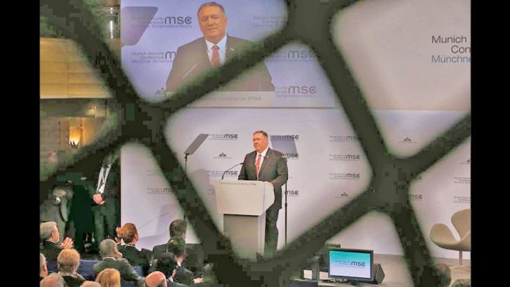 US Secretary of State Mike Pompeo delivers a speech at the 2020 Munich Security Conference (MSC) on February 15, 2020 in Munich, Germany.