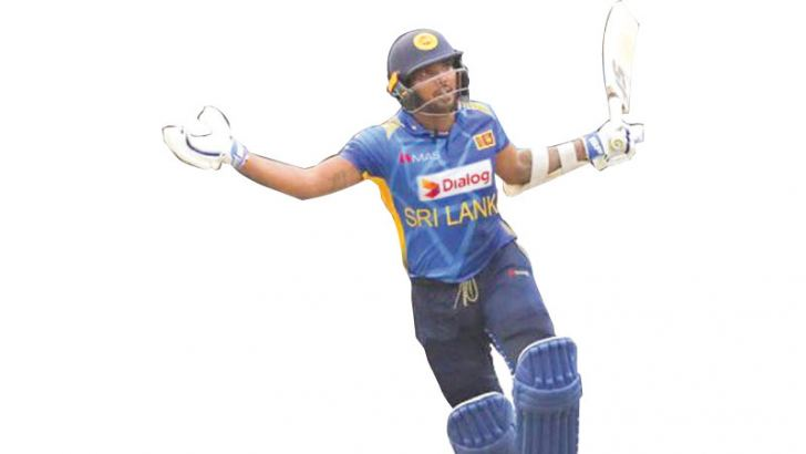 Wanindu Hasaranga celebrates after guiding Sri Lanka to a thrilling one wicket win in the first ODI against West Indies at the SSC grounds on Saturday.