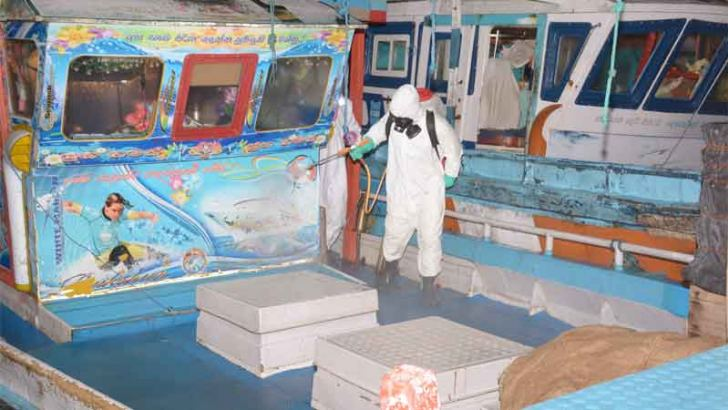 The Navy disinfecting one of the vessels