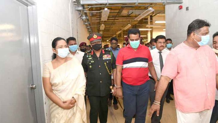 Health Minister Pavithra Wanniarachchi, Health Services Director General Dr. Anil Jasinghe, Army Commander Shavendra Silva and other officials inspect the site.