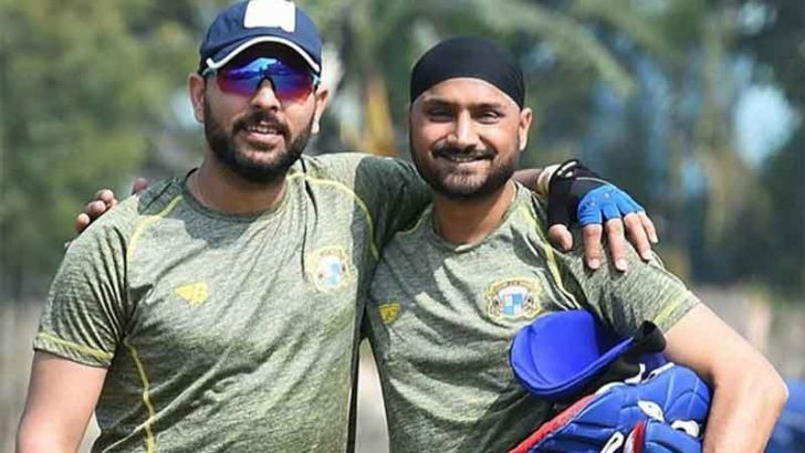 Indian cricketers Yuvraj Singh and Harbhajan Singh