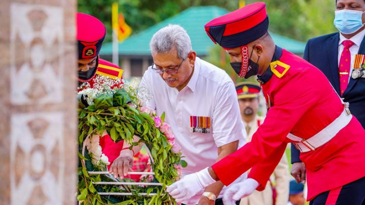 President Gotabaya Rajapaksa laying a floral wreath at the foot of the National War Heroes Monument in Battaramulla yesterday. Pictures by President's Media.