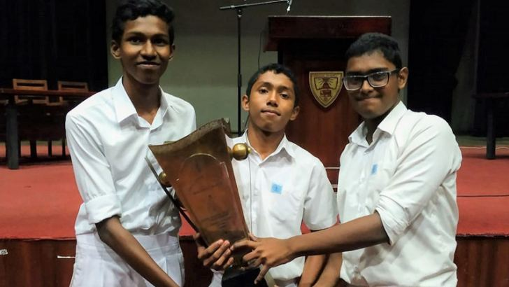 Some members of the winning Wesley team with the Dr N M Perera Memorial Challenge Trophy 2020