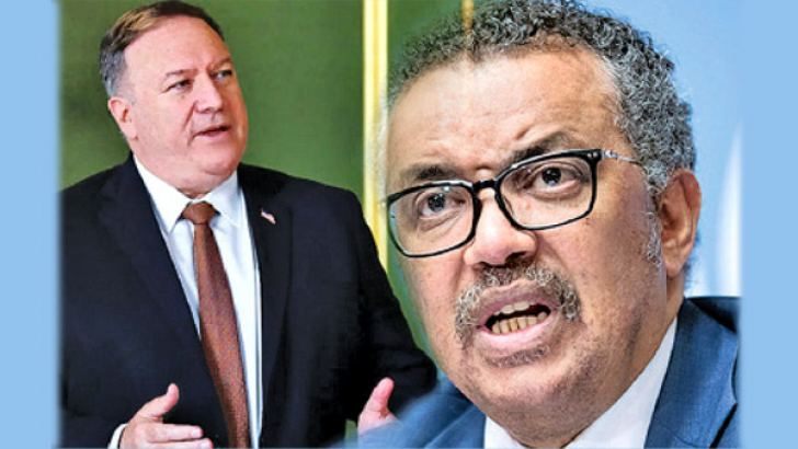 US Secretary of State Mike Pompeo and WHO Chief Tedros Adhanom Ghebreyesus