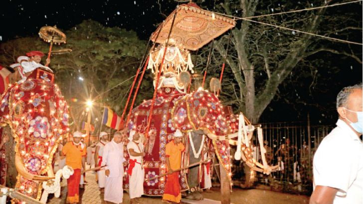 The Ceremonial Tusker of the Kandy Sri Dalada Maligawa carrying the Sacred Relics Casket escorted by other elephants. The final Randoli Perahera of the Kandy Esela festival 2020, paraded the streets of Kandy yesterday night.  Picture by  Sunil Gunawardhana  - Kundasale Group