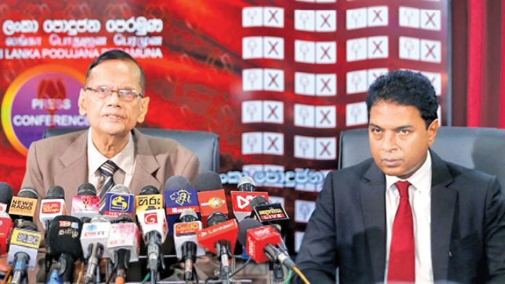 Sri Lanka Podujana Peramuna (SLPP) Chairman Prof G.L.Peiris and General Secretary Sagara Kariyawasam at yesterday's press conference. Picture by Wimal Karunathilaka