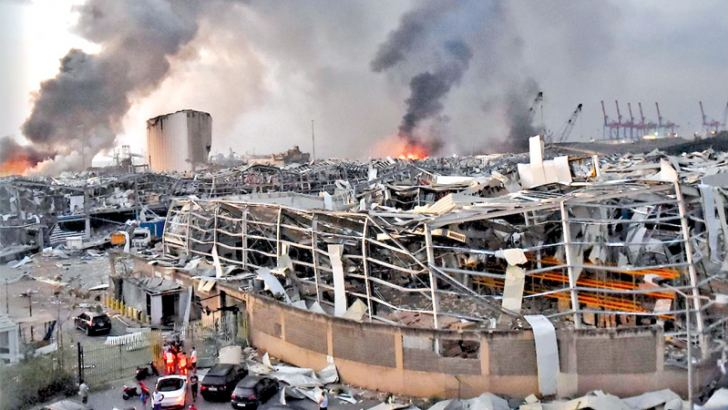 The scene of the explosion at the port of Lebanon's capital, Beirut, on August 4