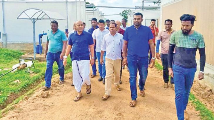 State Minister Duminda Dissanayake inspecting the solar power plant along with the officials.