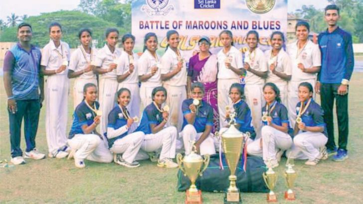 Wadduwa Central College Under 19 Girls Cricket Pool 2019/20 with the Officials posed for a photograph after emerging runners up at the all island inter schools championship (Picture by Dilwin Mendis – Moratuwa Sports Special Correspondent)