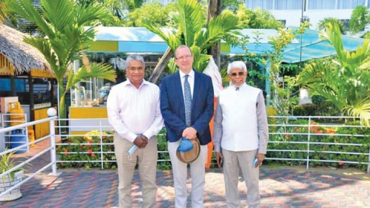 MP Hafiz Ahmed with Canadian High Commissioner David McKinnon and MP Faisal Cassim. Picture by Ampara District Group Corr.