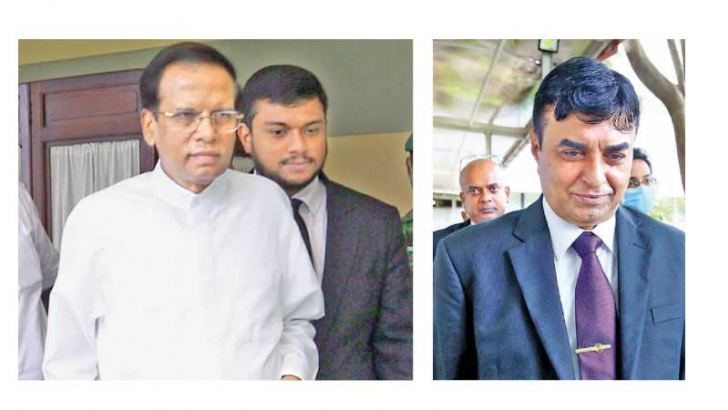 Former President Maithripala Sirisena who arrived at the PCoI to hear evidence leaving the Commission office and former IGP Pujith Jayasundera leaving the building. Pictures by Sulochana Gamage.