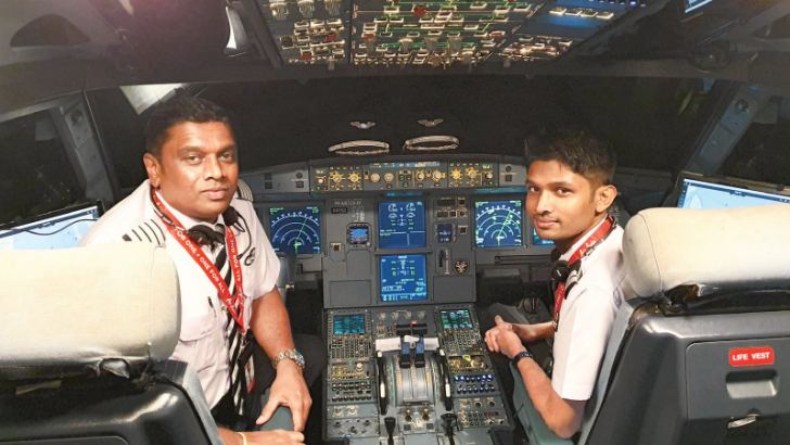 Danwatte Father and son combination after piloting their Air Asia flight to Colombo