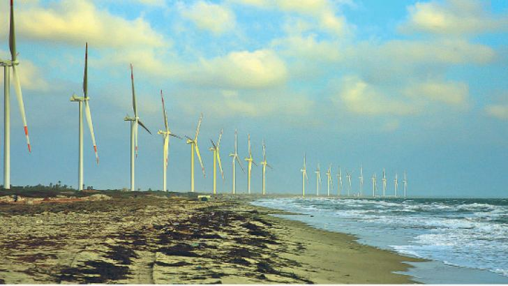 The Mannar coastline dotted with the wind power plants.
