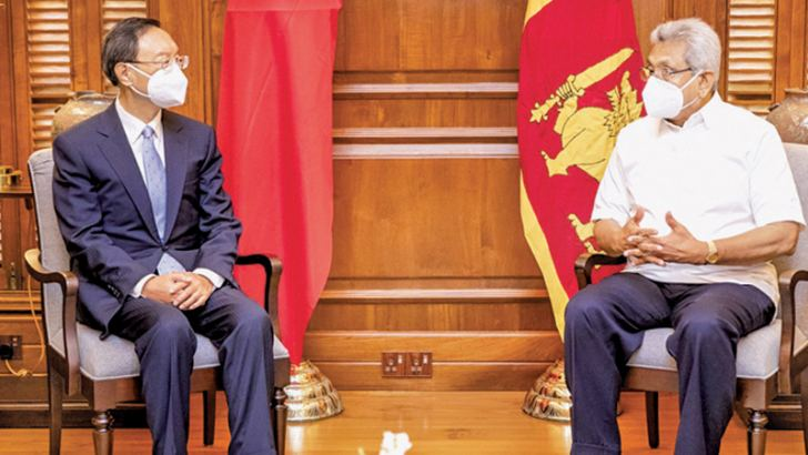 A high-powered Chinese delegation led by former Chinese Foreign Minister and the current Communist Party Political Bureau Member Yang Jiechi met President Gotabaya Rajapaksa yesterday. Picture courtesy President's Media Division