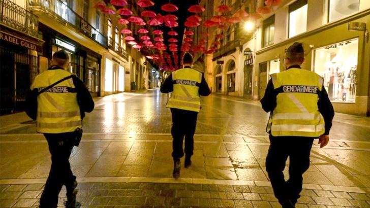 French Gendarmes patrol in a street of Montpellier on October 17, 2020, as a curfew is in place to fight the spread of Covid-19. - About 20 million people in the Paris region and eight other French cities were facing a 9 pm-6 am curfew from October 17, after cases surged in what has once again become one of Europe's major hotpots. (AFP)