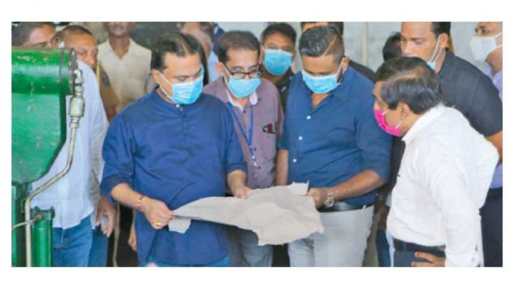 Industries, Minister Wimal Weerawansa observing the successful test run of Valaichchenai Paper Mill