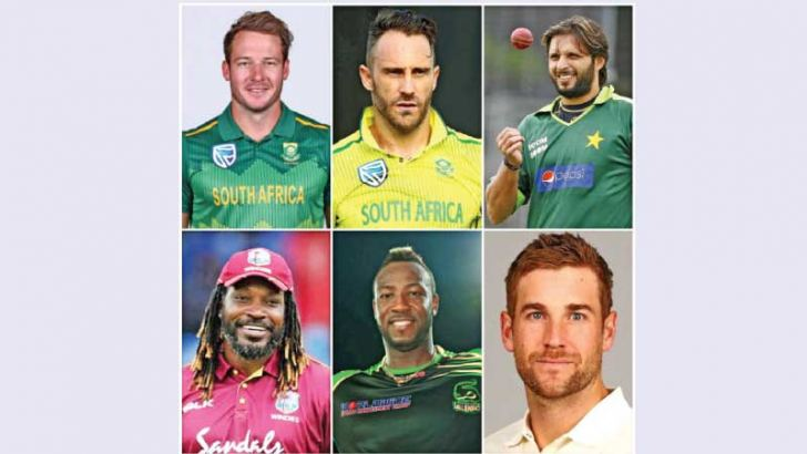 International star players in LPL 2020: Top row from left: David Miller, Faf du Plessis, Shahid Afridi. Bottom row from left: Chris Gayle, Andre Russell and David Malan