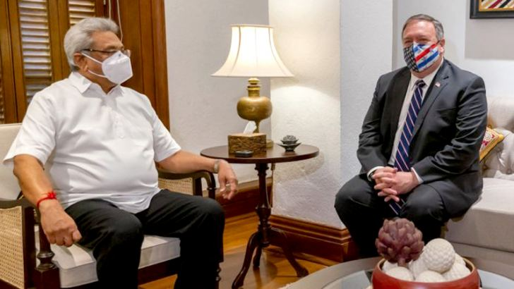 President Gotabaya Rajapaksa with US Secretary of State Mike Pompeo in Colombo on Wednesday.