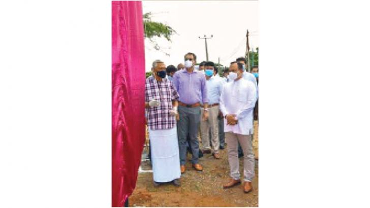 Minister Chamal Rajapaksa inaugurating the project.