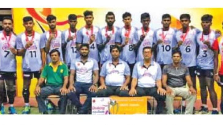 Nattandiya United Club won the Dialog All Island Under 23 Volleyball Tournament in 2018 and Ishen Thilochana (No. 6) standing in the back row third from right with his team mates and officials. (Picture by – Dilwin Mendis, Moratuwa Sports Special Correspondent)