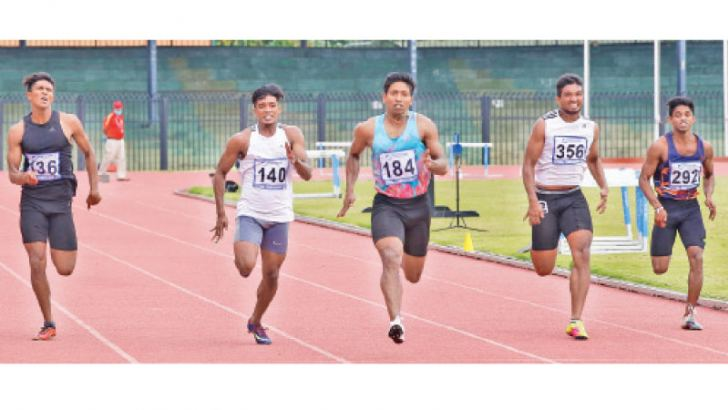 Himasha Eshan (184) clocked 10.27sec to win the men's  100m gold at the National Athletics Championship 2020. Pictures by Jagath Iroshana