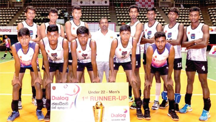 Runners up of the Dialog Gold Challenge Trophy under 22 All Island Volleyball Tournament held in 2018 Vijayaba Vidyalaya posed for a group photograph after the finals and Standing back row third from left is Gihan Anjula and fourth is Tharaka Ratnaweera. (Picture by Dilwin Mendis, Moratuwa Sports Special Correspondent)