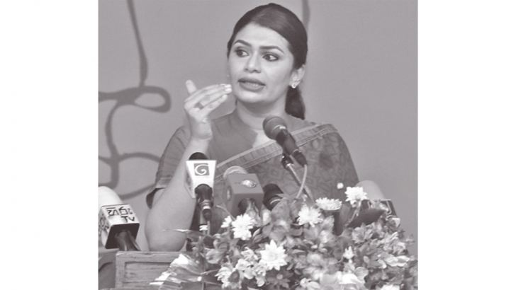 MP Hirunika Premachandra addressing the participants at the forum. Picture by Priyan de Silva.