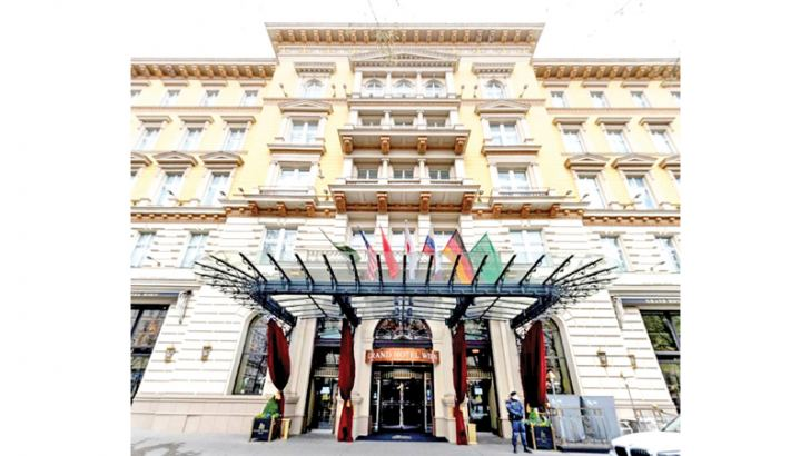 The 'Grand Hotel Wien' in Vienna, Austria where closed-door nuclear talks with Iran are taking place.