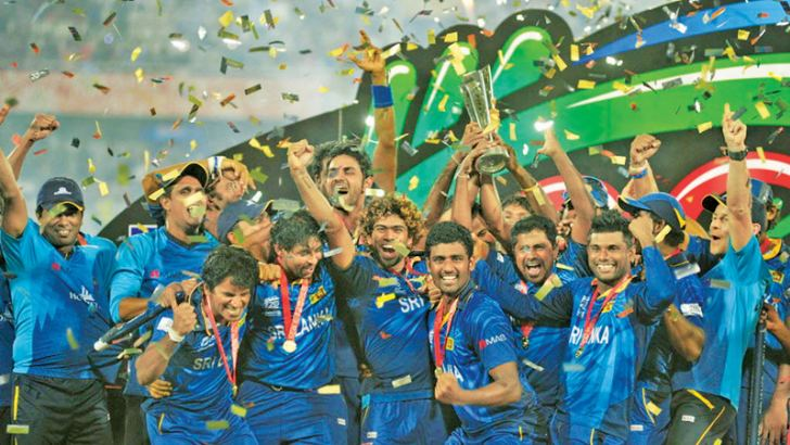 Sri Lanka Cricket Team celebrate with the trophy
