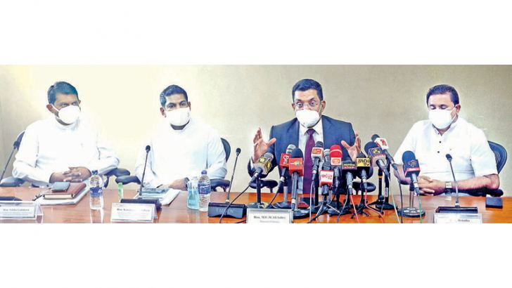 Justice Minister Ali Sabry PC, Ports and Shipping Minister Rohitha Abeygunawardena, State Ministers Dr. Nalaka Godahewa and Kanchana Wijesekera at yesterday's press conference held at the Justice Ministry. Picture by Sulochana Gamage
