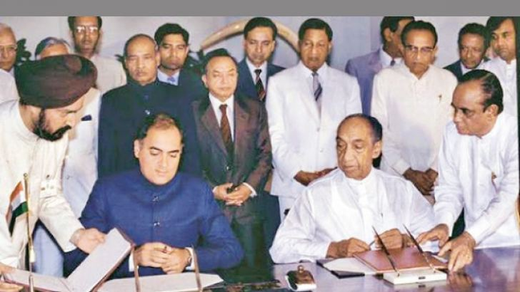 The signing of the Indo Lanka Accord in July 1987