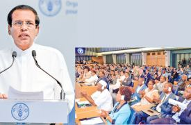 President Maithripala Sirisena delivering the Inaugural Speech at the opening ceremony of the 24th Sessions of the Committee on Forestry, of Food & Agriculture Organization (FAO) in Rome yesterday. Pictures by Sudath Silva