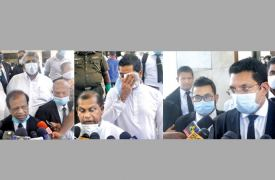 Government Ministers, Opposition MPs and senior attorneys expressing their views to the media in front of the Supreme Court complex yesterday. Pictures by Rukmal Gamage