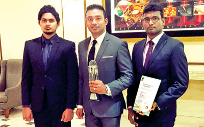hSenid Outsourcing Head  Sachi Wickramage  with his winning team