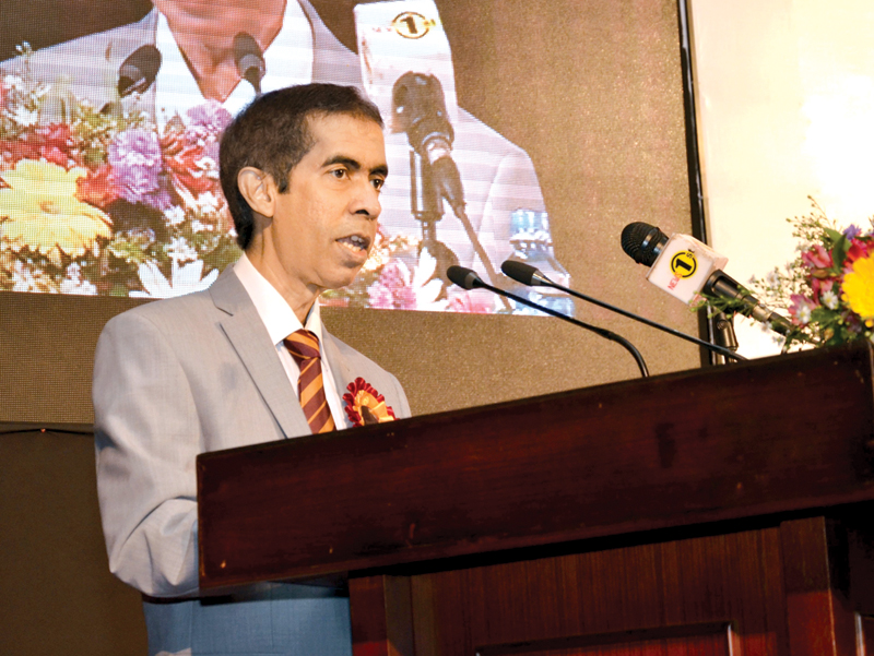 Attorney General Y J W Wijayatilake delivering Colonel Henry Steel Olcott Memorial Speech at Ananda College on November 21. Picture by Chinthaka Kumarasinghe