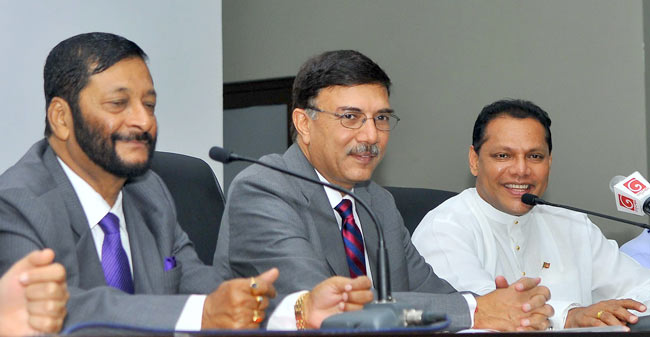 Former Indian MP Birendra Prasad speaking at the press briefing. Indian Sports Ministry Secretary Rajiv Yadev and Sports Minister Dayasiri Jayasekara are also in the picture. Picture by Rukmal Gamage