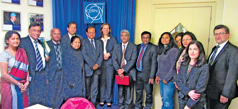 Science, Technology and Research Minister Susil Premajayantha along with Sri Lankan delegation and the representatives of the European Organization for Nuclear Research (CERN)