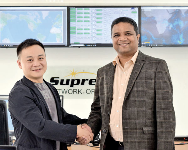 Forbes listed young billionaire of China Cai Xiaoru with Chairman of Supreme Global Holdings, R. M. Manivannan in SupremeSAT's Pallakele satellite control center.