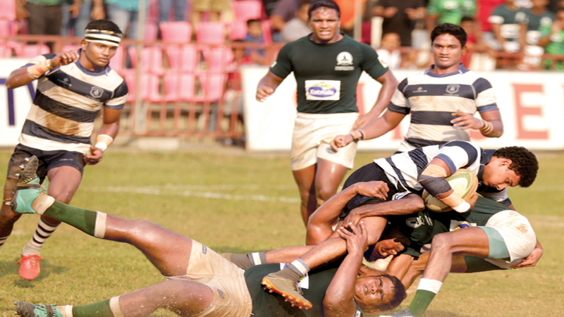 The Singer schools rugby first round league match between the two top teams St. Joseph's College and Isipathana College. Picture by Tilak Perera