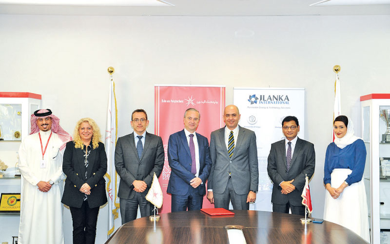 members of JLanka international and Bahrain Polytechnic at the signing of the collaboration MOU