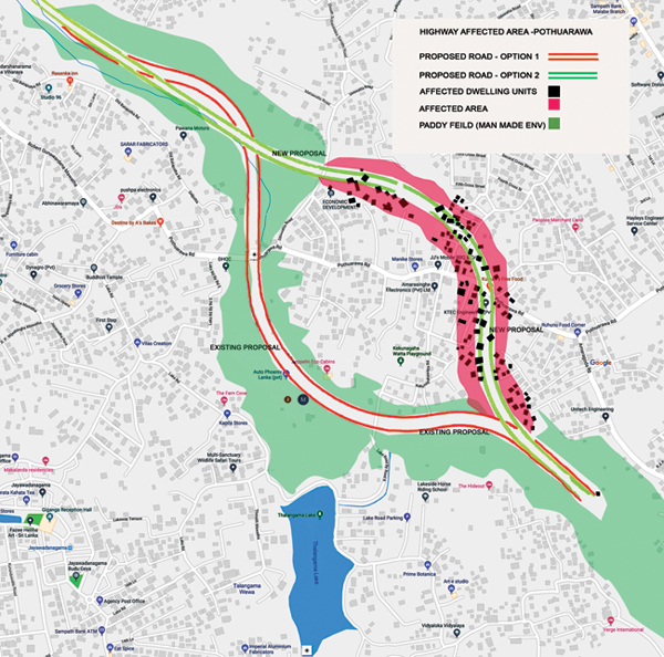 A map of the proposed first and second alternatives to build the elevated highway from Rajagiriya to Athurugiriya.
